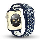 Ostart Apple Watch バンド アップルウォッチ 高級のシリコーン製ストラップ/ベルト アップルウォッチ Nike+ / New Apple iWatch Series 2 / Apple Watch Series 1 に交換 バンド (38mm, blue+white)