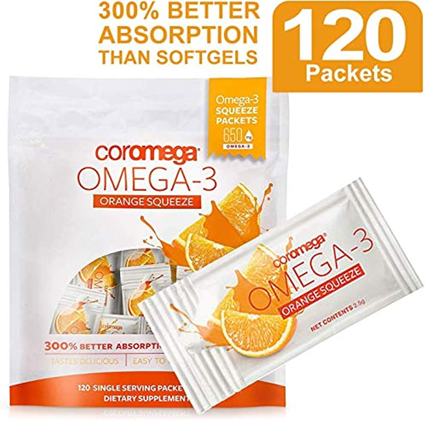 予想外不健康圧力Coromega, Omega3 Squeeze, Orange Flavor, 120 Squeeze Packets (2.5 g) Each X 3 袋[並行輸入品]