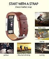 ウォッチバンドストラップスポーツ本革ブレスレットfor Fitbit Charge 2Kanhan ブラウン