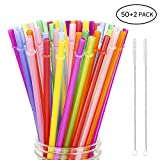 """Hiware 52 Pieces Reusable Plastic Straws for Tumbler, Mason Jars, Cupture/Maars Acrylic, YETI/RTIC, Starbucks, Tervis, 10.25"""" Extra Long 10 Colors Jumbo Drinking Straws with 2 Cleaning Brushes"""