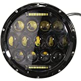 Audew 7 Inch 75W LED Headlight High/Low Beam Driving Lamp For Jeep Wrangler Harley Hummer White