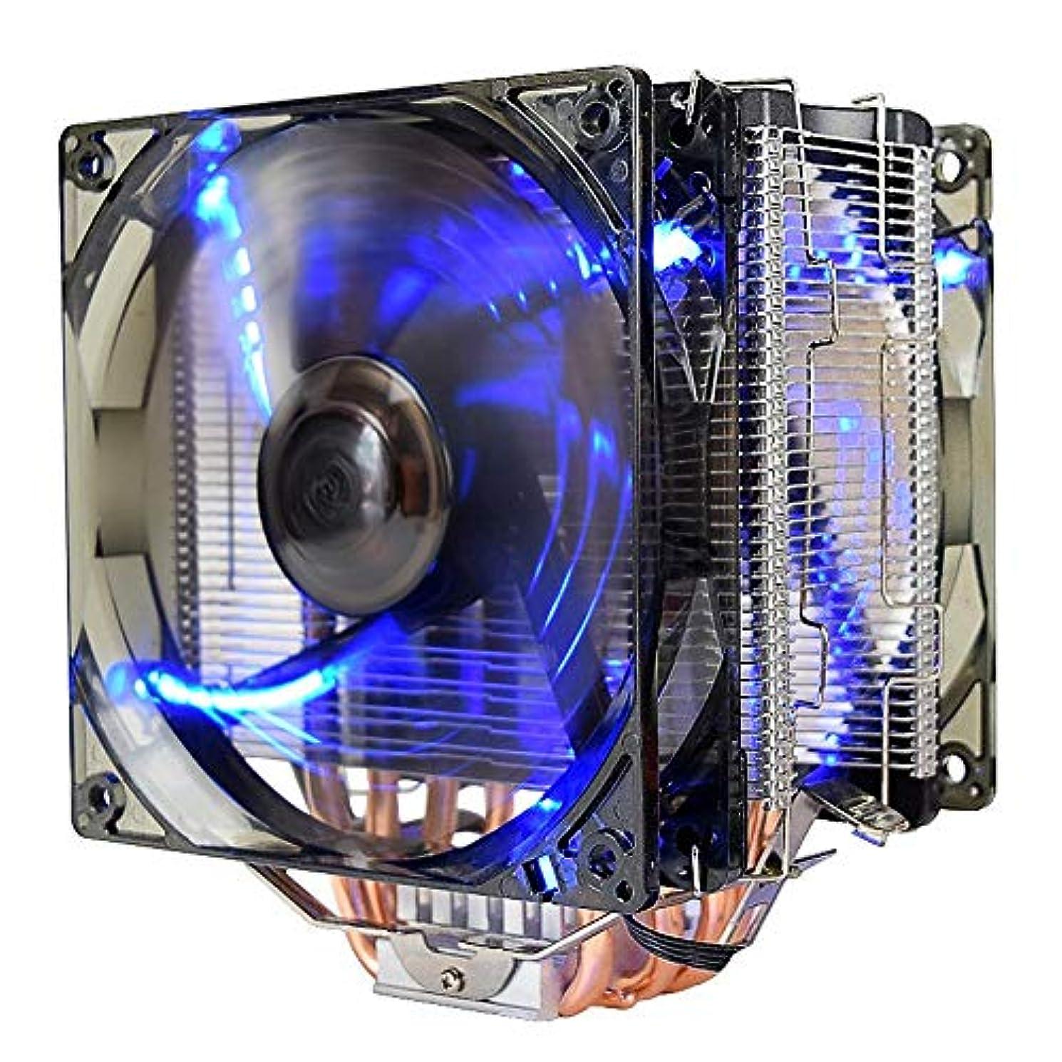 トークミキサーフィードバックフローCPUクーラー AMD AM4 IntelのLGA 775対応12V X6 4ピンダブルLED銅のCPUクーラーのファン 高風量放熱性能 (色 : Black, Size : One size)