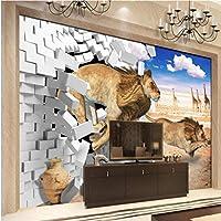 Wuyyii カスタム壁紙ライオン3D 3Dレンガ壁スペース装飾テレビの背景壁-200X140Cm