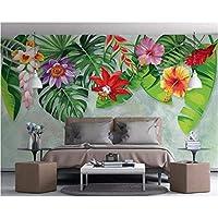 Hershop カスタム壁画壁紙手描き熱帯雨林バナナの葉花絵画壁紙家の装飾-120X100CM