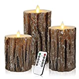 "Enpornk Flameless Candles Battery Operated Pillar Birch Effect Real Wax Flickering Moving Wick Electric LED Decorative Candle Sets with Remote Control Cycling 24 Hours Timer, 4"" 5"" 6"" Pack of 3"