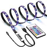 AMIR LED テープライト TVバックライト テレビ PC照明 目の疲れを取る USB接続 リモコン操作 強粘着両面テープ仕様 カラー選択 切断可能 防水防塵 SMD5050RGB LEDライト 屋内外装飾