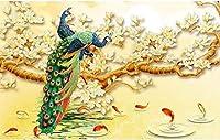 Bzbhart 3d壁紙花孔雀マグノリアリビングルームテレビの背景壁画壁紙絵画-450cmx300cm