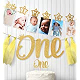1st Birthday Glitter Decorations - Monthly Milestone Photo Banner for Newborn to 12 Months. Great for 1 Year Old Celebration, 1-12 Month Star Numbering Photography Garland,