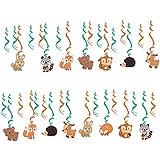 Baoblaze 約30枚 渦巻き スワール飾り 可愛い動物柄 子供パーティー プラスチック製