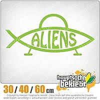 Aliens fish - 3つのサイズで利用できます 15色 - ネオン+クロム! ステッカービニールオートバイ