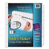 Index Maker extra-wideクリアラベルディバイダー、5-tab、111/ 4x 91/ 4、5セットby : Avery