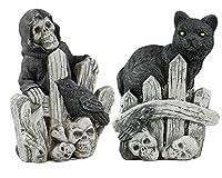 死神と黒猫ハロウィン墓地Figurines