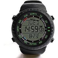 腕時計 電波時計 スポーツデザイン 電波腕時計 デジタル表示 ストップウォッチ機能 5気圧防水 バックライト付き アラーム 日本国内専用 ブラック メンズ レディース 取扱説明書付き REIDA