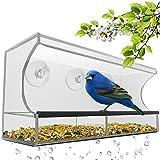 Liebeye 給餌器 餌台 野鳥 用 クリエイティブ アクリル製 透明バード フィーダーガーデン 飾り物 庭 リムーバブルトレイ