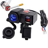 SODIAL 充電器+デジタル5V 4.2Aデュアル充電器シガレットライターUSB車のアダプター12Vオートバイ用オート多機能