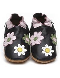 Soft Leather Baby Shoes Little Flowers Black [ソフトレザーベビーシューズリトルフラワーズブラック] 18-24 months (15 cm)