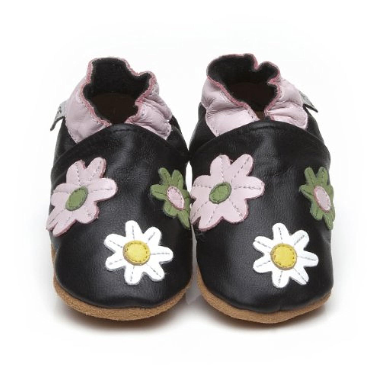 Soft Leather Baby Shoes Little Flowers Black [ソフトレザーベビーシューズリトルフラワーズブラック] 3-4 years (16.5 cm)