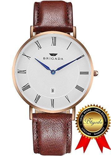 BRIGADA ブランド 腕時計 超薄型 ファッション ブラ...