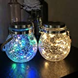 Mr.do® Solar Lights Outdoor Fairy Garden Christmas Lanterns Light Crack Design Glass Jar 30 LED Waterproof Hanging Lamp for Patio Party Wedding Decoration 2 Pack, Warm Light and Colored Light