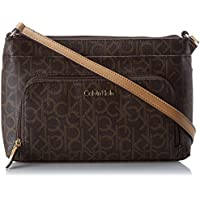 Calvin Klein Women's Lily Crossbody Bag with Side Zips, Brown/Khaki Monogram