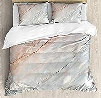 大理石羽毛布団カバーセット、Onyx Stone Textured自然Featured Authentic傷Artful図、装飾4点寝具セット、ピーチ薄いグレー Twin Size