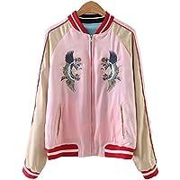 Viport Women's Reversible Crane Tiger Fujiyama Embroidery Bomber Jacket Japanese Style Pink Blue