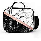 Chic Black White Marble Block Rose Gold Lunch Box with Padded Liner, Spacious Insulated Lunch Bag, Durable Thermal Lunch Cooler Pack for Boys Men Women Girls Adults