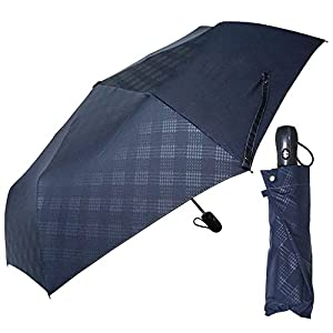 アイリスプラザ 折りたたみ傘(自動開閉) ネイビー 55cm 自動開閉 耐風 エンボスチェック OSK-027