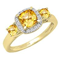 18K黄色ゴールド6mmクッションジェムストーン&ラウンドダイヤモンドブライダル3ストーン婚約リング