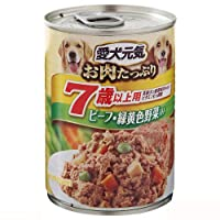 愛犬元気 缶 7歳以上 ビーフ&野菜 375g × 24個 (ケース販売)