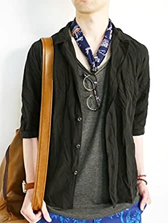 (モノマート) MONO-MART 綿麻 しわ加工 7分袖 シャツ ジャケット テーラード Mサイズ