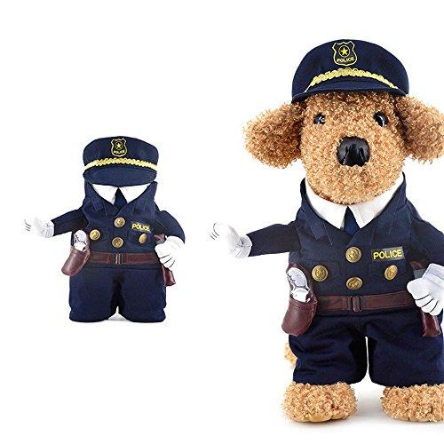 ポリス 警官 警察官 犬服 猫服 小型犬 仮装 二足歩行 コスプレ ハロウィン ドッグウエア S M L LP-012fb (S)