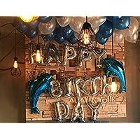 (フィルテック) FillTech 誕生日 バルーン 飾り付け セット イルカ バースデー アルミ 装飾セット + リボン ハンドポンプ 両面テープ付き