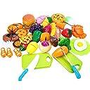おままごと 37個セット ごっこ遊び キッチン調理ごっこ 食べ物 切れる食材 野菜 魚 果物 目玉焼き クッキー 二人遊びセット 知育玩具 子どもの誕生日プレゼント 入園お祝い