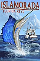 Islamorada、フロリダ州キー – Sailfishシーン 24 x 36 Signed Art Print LANT-42061-710