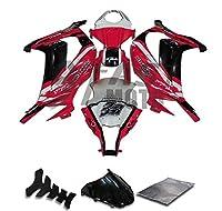 9FastMoto kawasaki カワサキ 11 12 13 14 15 ZX-10R ZX10R Ninja 2011 2012 2013 2014 2015 用フェアリング オートバイフェアリングキット ABS 射出成形セット スポーツバイク カウル パネル (レッド & ブラック) K0302