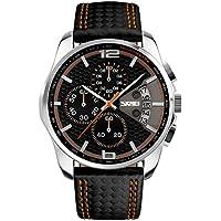NAVIFORCE Men's SKMEI New Sport Watch Leather Fashion Waterproof Date Luxury Business Man Chronograph Watch Black Orange