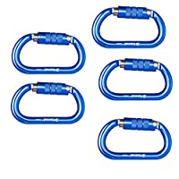 Baoblaze 5個 25KN アルミ クライミング レスキュー カラビナ Dタイプ 全12選択 - 青(オートロック)