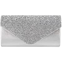 Gabrine Womens Rhinestone-Studded Flap Evening Bag Handbag Shoulder Bag Clutch Purse
