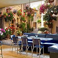 リビングルームソファ背景風景ノスタルジアハウスと鉢植えの花の壁画のためのカスタム3d写真の壁紙風景 幅 250cm * 高さ160cm A