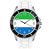 シエラレオネ国旗 - ユニセックスシリコン腕時計