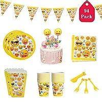 Amycute 94個絵文字をテーマにしたパーティー用食器 - 使い捨てプレート、カップ、ナプキン、フォーク、ケーキトッパー、ポップコーンボックス、ホオジロバナーを含む20杯