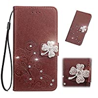 Huawei Y7 2019 Case credit Card holder,Luckyandery Leather ウォレット Case,マグネット閉鎖カバー Cover with Stand Function & Credit Card Slots 対応 Huawei Y7 2019,Brown