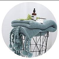 冬の暖かい毛布 人気タッセルニット毛布防寒ブランケットワイヤー毛布写真 小道具, グリーン,130x170cm