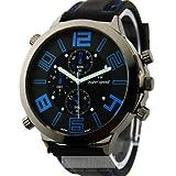 2014新しいブルーBig Dail Vogue v6BubberバンドMarks HourマークスチールアナログメンズMilitaryカジュアル腕時計、ファッションギフト