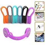 SUNFICON 6 Pack Magnetic Cable Organizers Cable Clips Earbuds Cords Winder Bookmark Clips Whiteboard Noticeboard Fridge Magnets USB Cable Manager Keeper Wrap Ties Straps for Home Kitchen,Office,School