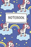 """Notebook: Cute Colorful Unicorn Pattern - (6"""" × 9"""" in) - Black Lined Paper - Back to School 2019"""