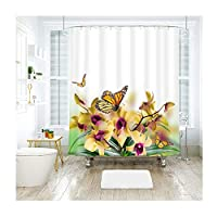 Adisaer カフェカーテン お風呂場 シャワーカーテン 黄色 花と蝶 【約180x200cm】 ユニットバス 布の質 生地が良い リング付属 バスルーム カーテン