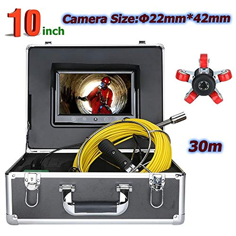 ソファーヒューバートハドソン未払い30メートル10インチ22ミリメートル工業用パイプ下水道検査ビデオカメラip68防水排水管下水道検査カメラシステム1000 tvlカメラ付き6ワットledライト