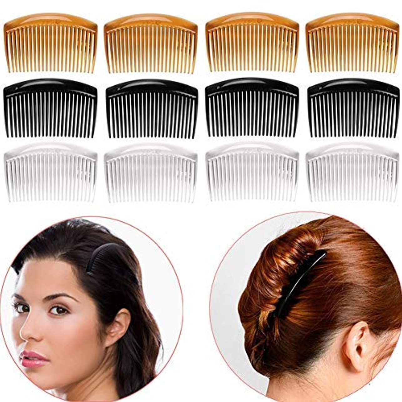 レオナルドダサイレント選ぶLuckycivia 12Pcs French Twist Comb, Plastic Side Hair Combs with 23 Teeth, Strong Hold No Slip Grip and Durable...